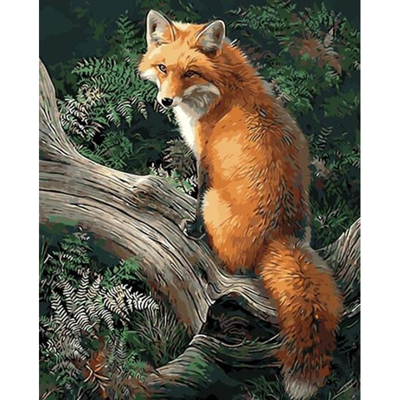 Frameless Picture Animals Fox DIY Maleri med tal Sæt Akrylmaling med tal Hjem Wall Art Decor til unik gave 40x50cm