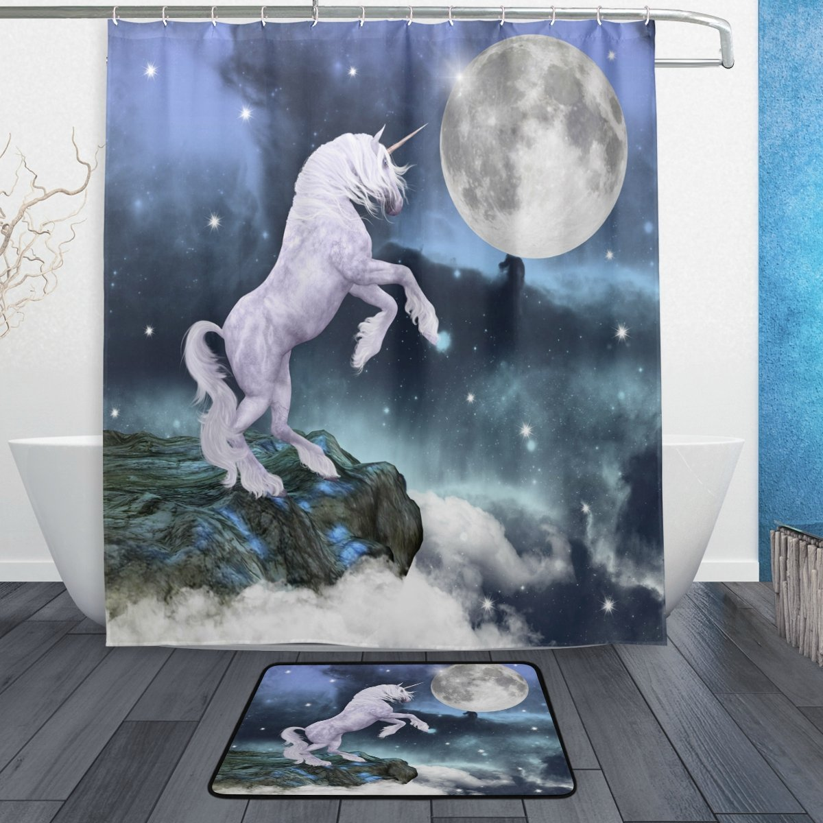 White Unicorn Full Moon Night Waterproof Polyester Fabric Shower Curtain with Hooks Doormat Bath Floor Mat Bathroom Home Decor