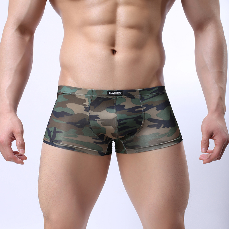 Men Sexy Underwear Boxer Male Underpants Mens Military Boxers Shorts U Convex Pouch Underpants Camouflage Cueca Stretch Panties