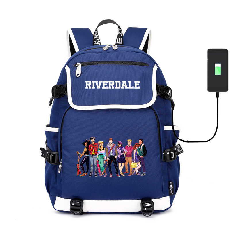 American Riverdale USB Charging Laptop Backpack Canvas School Backpack Women Bagpack Mochila Feminina Riverdale Back Pack Rugzak
