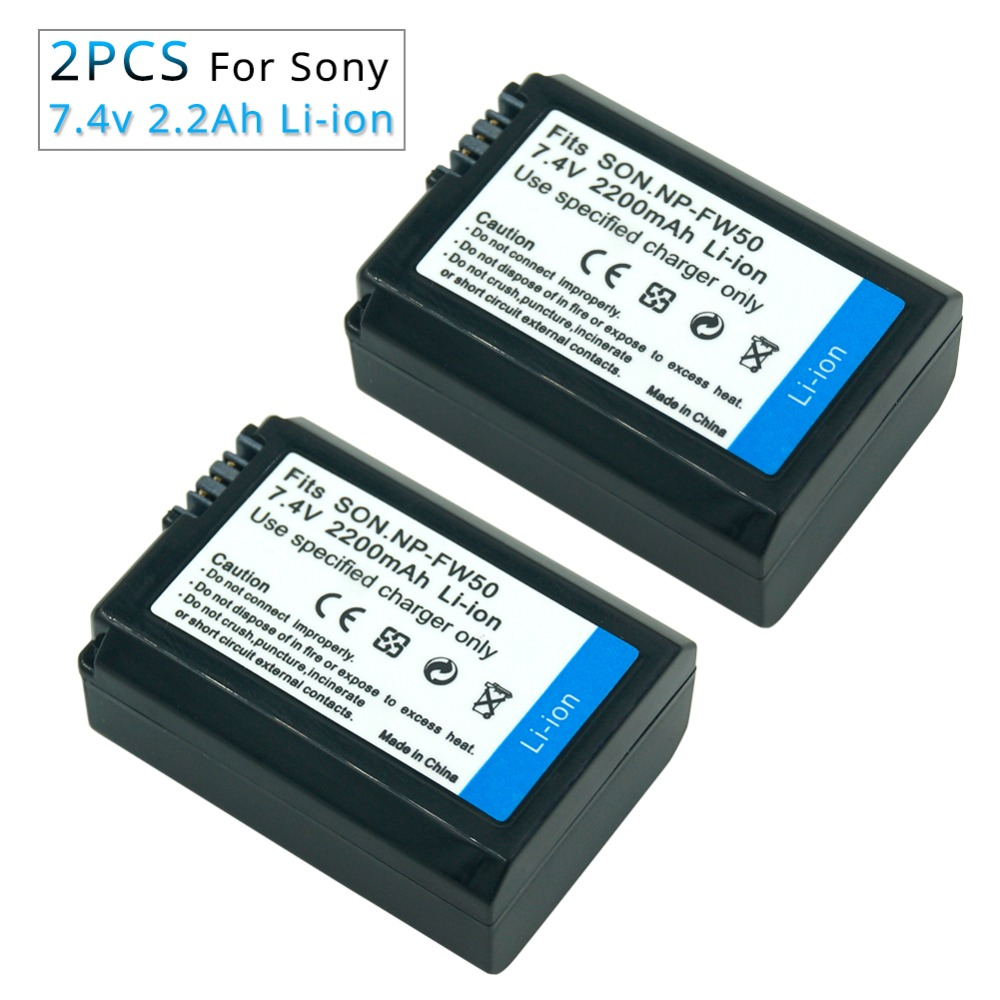 2PCS 7.4v 2.2A NP-FW50 NP FW50 NPFW50 Rechargeable Camera <font><b>Battery</b></font> for <font><b>Sony</b></font> <font><b>Alpha</b></font> 7R A7R 7S A7S A3000 <font><b>A5000</b></font> A6000 NEX-5N 5C A55 image