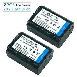 Image 1 - Batería de cámara recargable para Sony Alpha 7R A7R 7S A7S A3000 A5000 A6000 NP FW50 5C A55, 2 uds., 7,4 v, 2.2A, NEX 5N, NP FW50, NPFW50