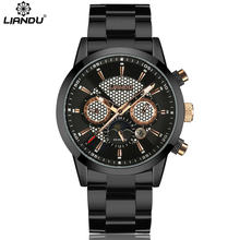 LIANDU Mens Casual Quartz Watch 24 Hours Function & Moon Phase Multiple Time Zone Business Men Watches