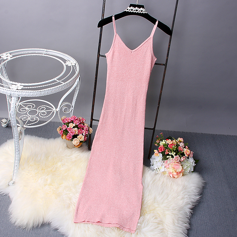 [Alphalmoda] 2017 Spring Women Glittering Knitted Sundress Slim Side Slit Pullovers Bodycon Sexy Long Tank Dresses in 5colors