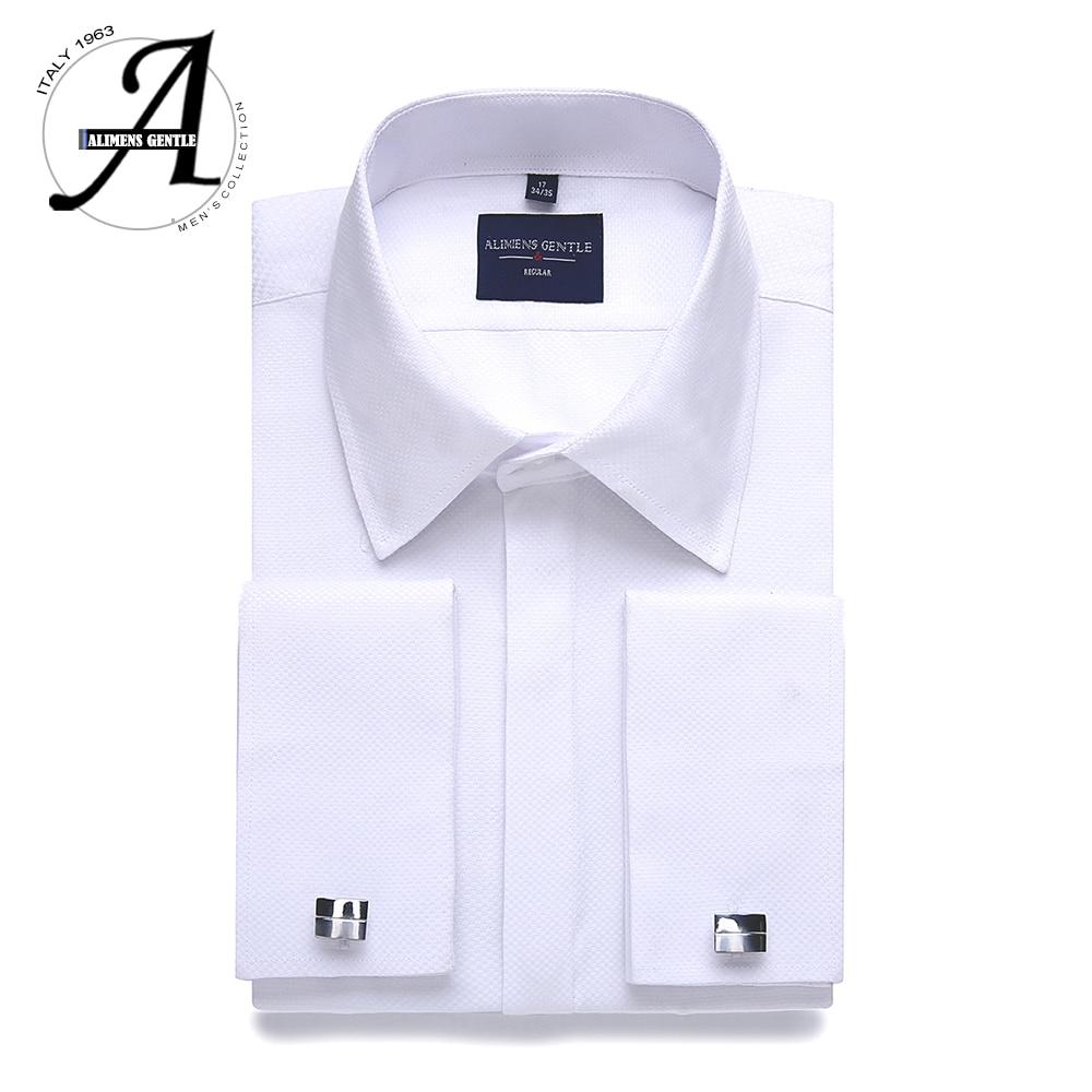 Alimens & Gentle Plus Size Regular Fit Hidden Placket French Dress Shirt Men Long Sleeve Includ Cufflinks And Collar Stays