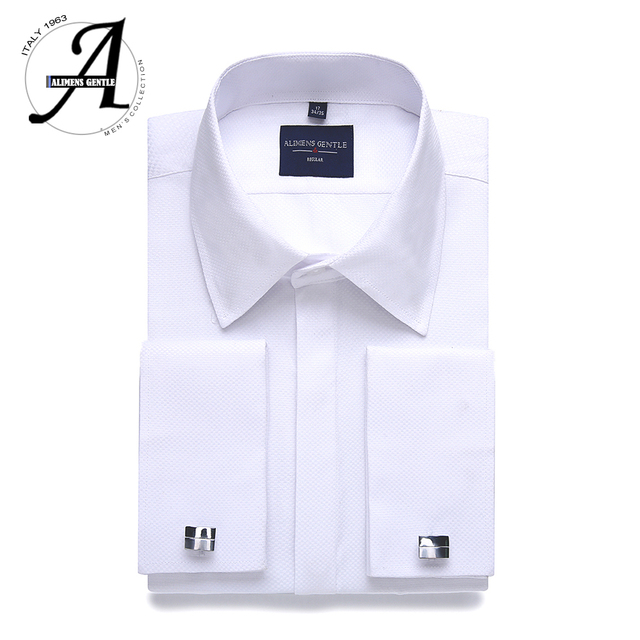 3b5e62fbe12 Alimens   Gentle Plus size regular fit hidden placket french dress shirt men  long sleeve includ cufflinks and collar stays