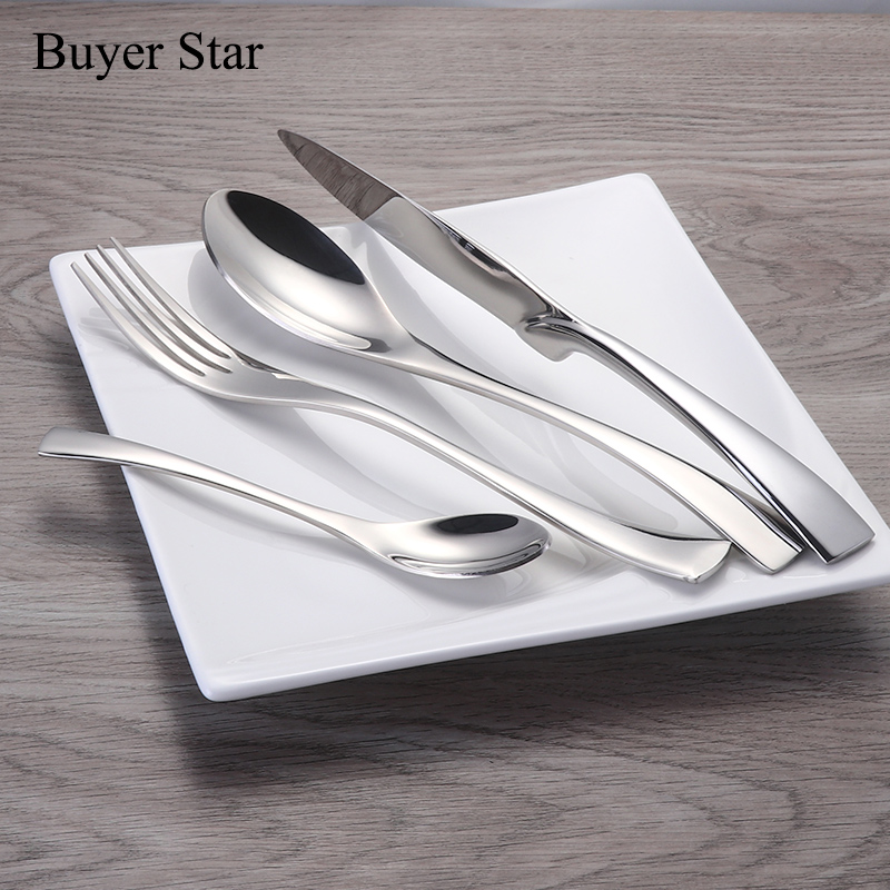 1624pcs set Stainless Steel Tableware Cutlery Sets Mirror Polished Silver Plated Metal Tableware Western Dinner Fork