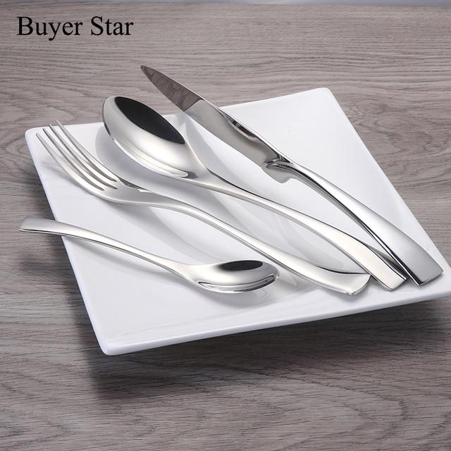1624pcs/set Stainless Steel Tableware Cutlery Sets Mirror Polished Silver Plated Metal Tableware Western Dinner Fork Knife Scoop