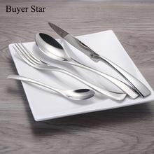 24 Teile/satz Edelstahl Geschirr Besteck Sets Spiegel Poliert Silber Überzogene Metall Geschirr Westlichen Abendessen Gabel Messer Scoop