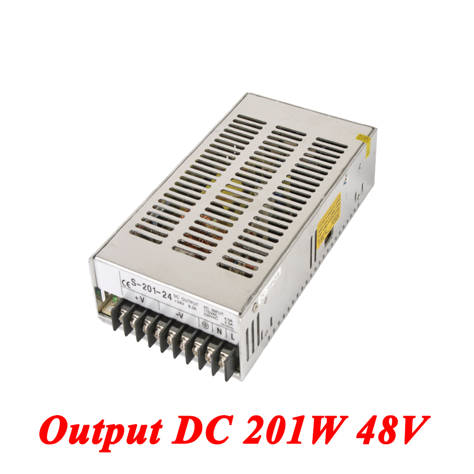 S-201-48 Switching Power Supply 201W 48v 4.2A,Single Output Ac-Dc Power Supply For Led Strip,AC110V/220V Transformer To DC 48V led power supply 48v 10 5a 100 120v 200 240v ac input single output switching power supply 500w 48v transformer