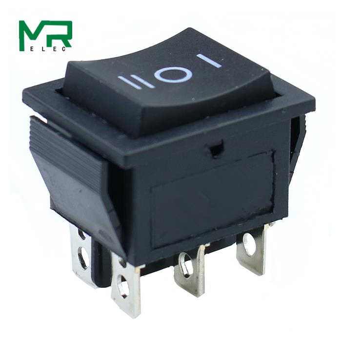 KCD4 1 Buah Hitam Rocker Switch Power Switch On-Off-On 3 Posisi 6 Pin Tidak Ada Lampu 16A 250VAC/20A 125VAC