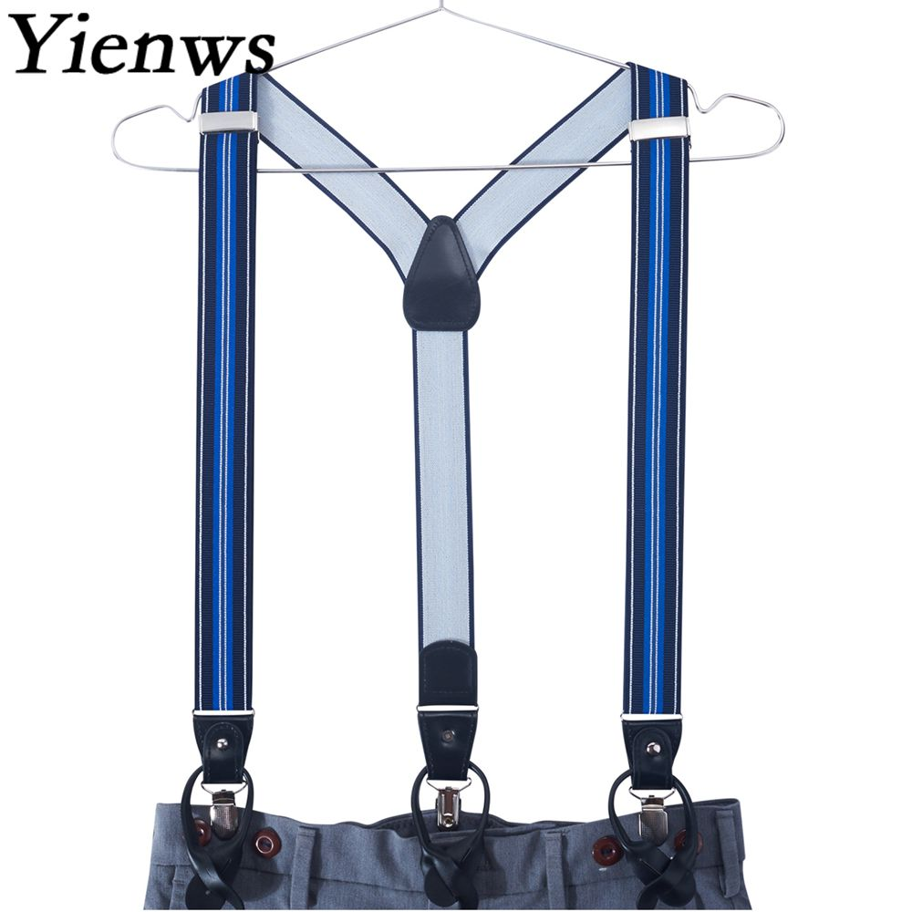 Yienws Mens Suspenders Button End Tuxedo Striped Elastic Suspenders Male Strap 3 Clip Pants Braces Suspensorio 3.5*120cm YiA122