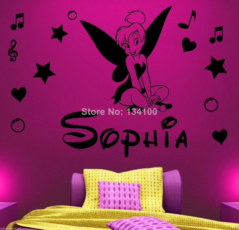 Customer Made Personalized Name Diy Tinkerbell Wall Sticker Children Girls Home Decoration Home Decor