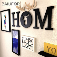 BAIUFOR Nordic Solid Wood Picture Frame With Shelf Poster Modern Photo DIY Frame Set Home Family