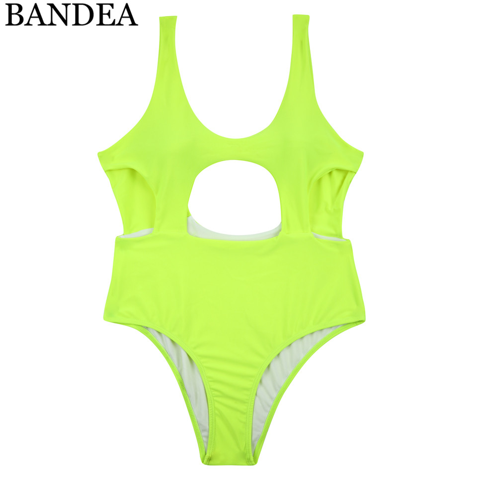 BANDEA one piece swimsuit women cut out swimwear backless bathing suit female beach wear monokini solid bodysuit swimming suit in Body Suits from Sports Entertainment