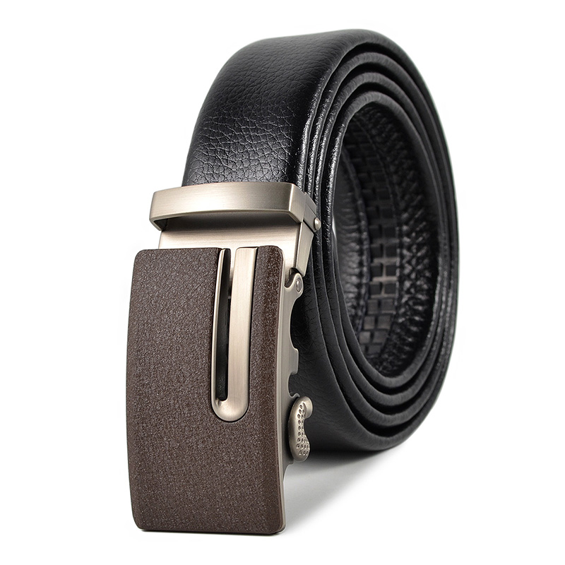 Brand Men'S Belts Black  Cowhide Quality Assurance Wholesale Alloy Automatic Buckle Hip Belt Clothing Accessories Free Shipping