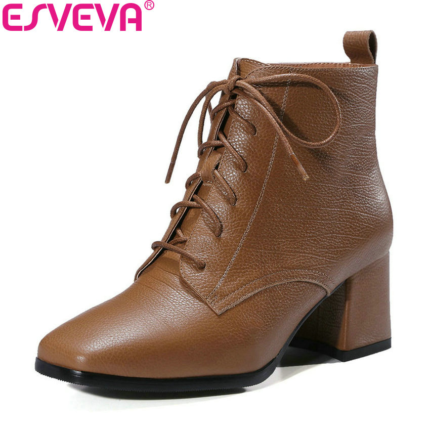 ESVEVA 2019 Women Boots Ankle Boots Square Toe Shoes Lace Up Square High Heels Cow Leather Zip Autumn Fashion Boots Size 34-39 esveva 2018 cow leather pu women boots autumn shoes ankle boots square high heels ladies motorcycle boots black size 34 39