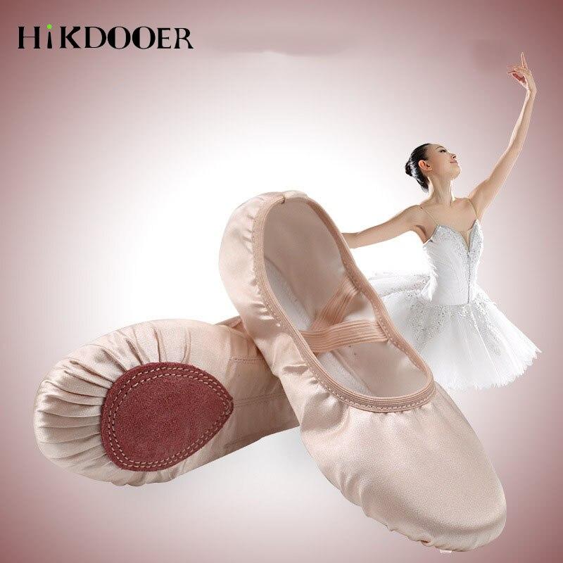 Satin Girl Ballet Shoes Round Toe Indoor Yoga Shoes Comfortable Adult Girls Soft Split Sole Satin Dance For Children