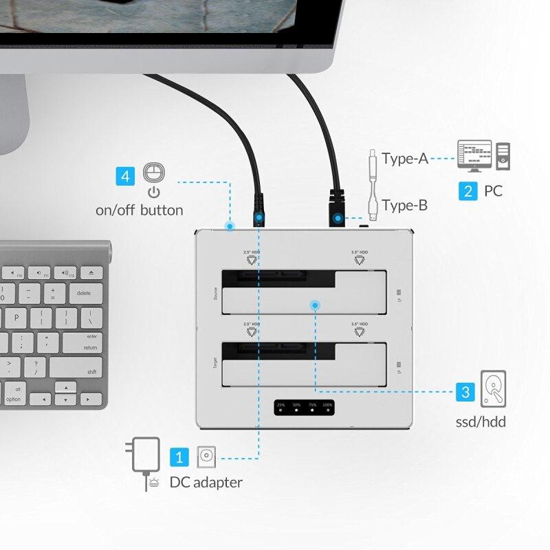 ORICO USB 3.0 naar SATA 3.0 dual-bay HDD docking station aluminium - Externe opslag - Foto 3