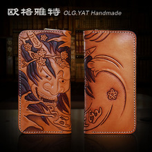 HK OLG.YAT mens Wallet Italian Vegetable tanned leather wallets men purse cowhide Hand-carved Yasha handmade wallet Choi cloth