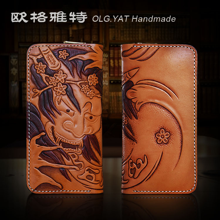 HK OLG.YAT mens Wallet Italian Vegetable tanned leather wallets men purse cowhide Hand-carved Yasha handmade wallet Choi cloth olg yat leather handmade wallet men purse womens handbag italian vegetable tanned cowhide wallets the book button long handbags