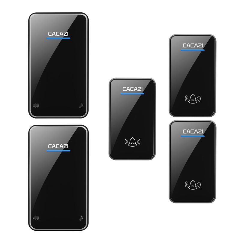 CACAZI waterproof wireless doorbell 3 transmitters+2 receivers 100-240V EU/US/UK plug door bell 300M remote 48 rings door chime 2 receivers 60 buzzers wireless restaurant buzzer caller table call calling button waiter pager system