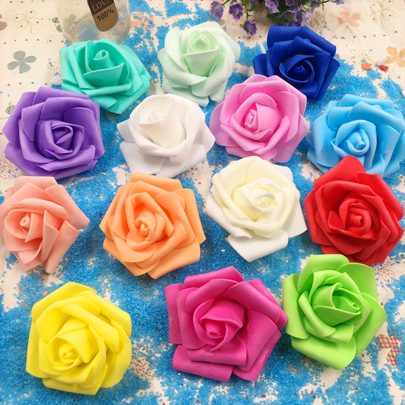 10 PC / 6 to 7 cm three-layer artificial PE foam head rose wedding car decoration DIY tracery wall arch paste artificial flowers