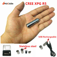 USB Rechargeable LED Torch CREE XPG R5 Super Mini LED Keychain Stainless Steel Flashlight 10180 Lithium