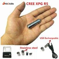 Usb 충전식 led 토치 손전등 cree xpg r5 슈퍼 미니 led 키 체인 스테인레스 스틸 손전등 10180 리튬 배터