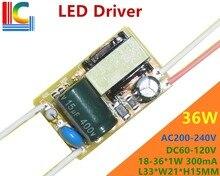 36W Led Driver 18W/19W/20W/21W/22W/23W/24W/25W/26W/27W/28W/29W/30W/31W/32W/33W/34W/35W/36W transformateur de lampe sortie 300mA 100 pièces