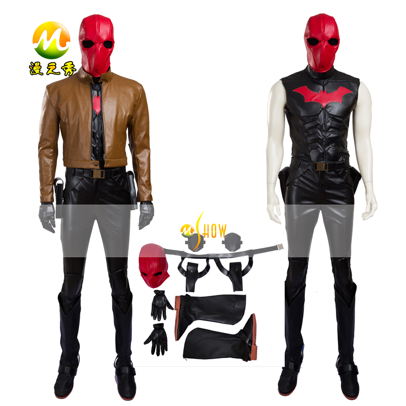 Superhero Jason Todd Batman Red Hood Cosplay Costume Batman Leather Jacket Outfit With Mask for Halloween Party