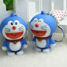 Novelty Toys Cartoon Anime Doraemon Figures LED Keychains Lighting Sounds Creative Gifts Night Key Accessories