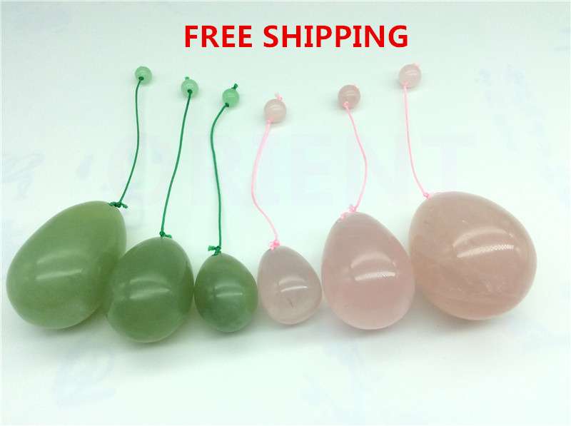 FREE SHIPPING natural Rose Quartz XiuYan jade egg for Kegel Exercise pelvic floor muscles vaginal exercise yoni egg ben wa ball