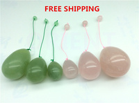 FREE SHIPPING Natural Rose Quartz XiuYan Jade Egg For Kegel Exercise Pelvic Floor Muscles Vaginal Exercise