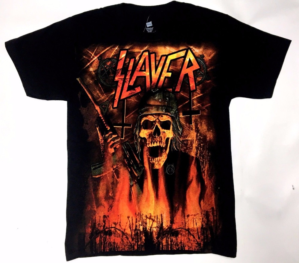 Slayer Wehrmacht Burning T-Shirt Nwt 100% Authentic Size S 3XL Front Back Design
