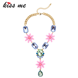KISS ME Brand Elegant Resin Pink Flowers Necklaces & Pendants 2017 New Maxi Necklace Women Bijoux