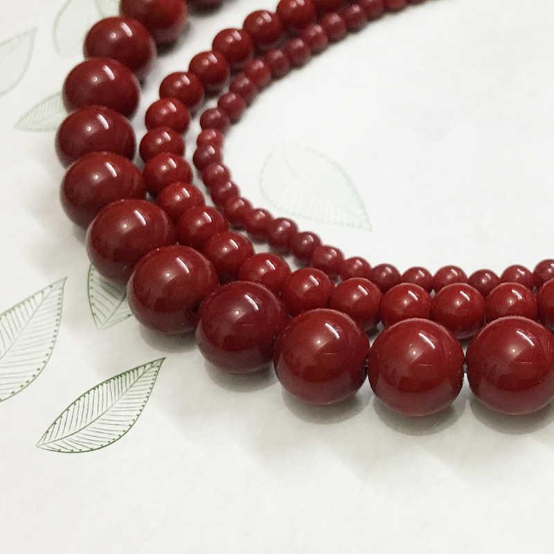 4mm màu đỏ mịn Kính trang sức đá tự nhiên phát hiện do khoang cach bang hạt tai vòng cổ vòng tay tạo ra Thạch Anh Đá Hộ Mệnh Carnelian