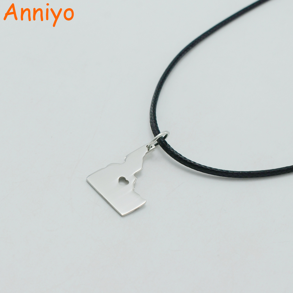 Anniyo IDAHO Map Necklaces United States Maps Stainless Steel Pendant Rope for Women/Men,Gem State ID #000808