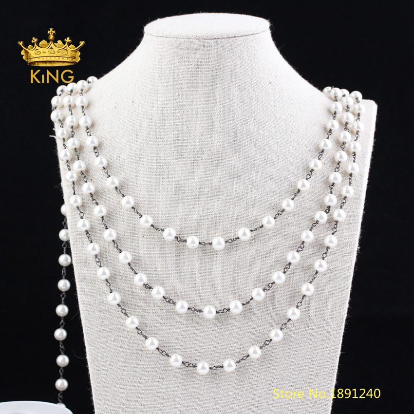 5Meters 8mm Luxury Simulated Glass Pearl Chains Findings,Round White Pearl Wire Wrapped Plated Gunmetal Copper Links Chain ZJ236