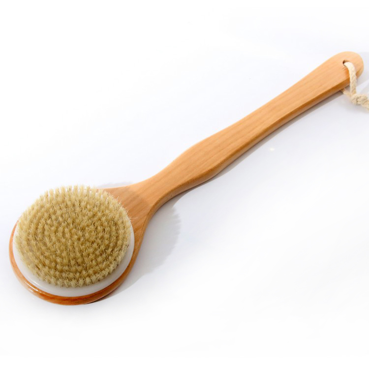 Bathroom Natural Bristle Cleaning Long Handle Wooden