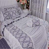 New noble grigio set biancheria da letto di lusso Europea ricamo copripiumino volant doppio strato letto gonna di pizzo principessa lenzuolo biancheria da letto
