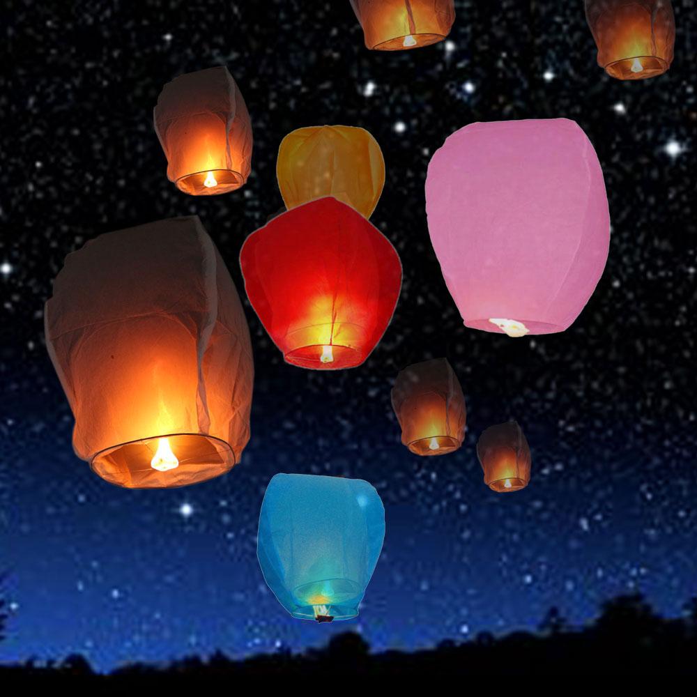 10 pcs chinois lanterne ciel lanternes souhaits lanternes volantes multicolore papier lanterne ballon danniversaire - Lanterne Volante Mariage
