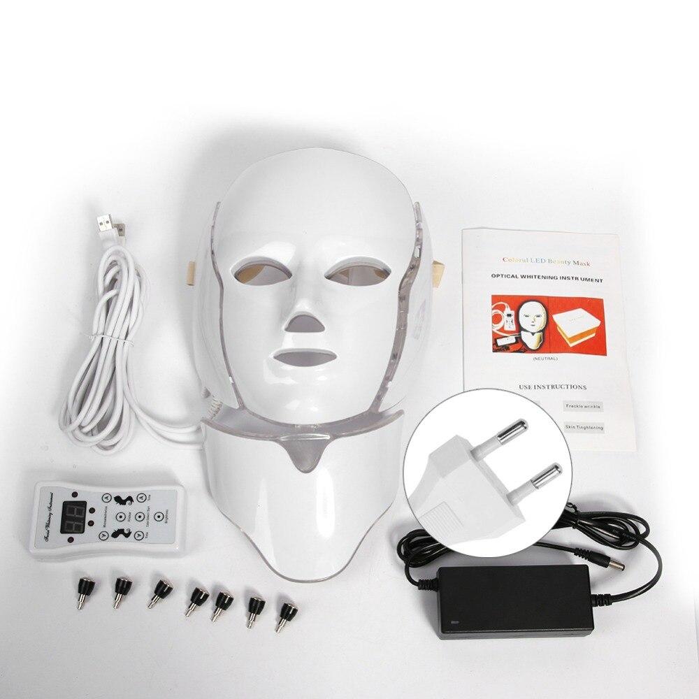 7 cores Photon Elétrica LED Máscara Facial Pescoço Massageador Facial de Rejuvenescimento Da Pele LEVOU Máquina de Terapia de Beleza Tratamento (UE/ EUA)