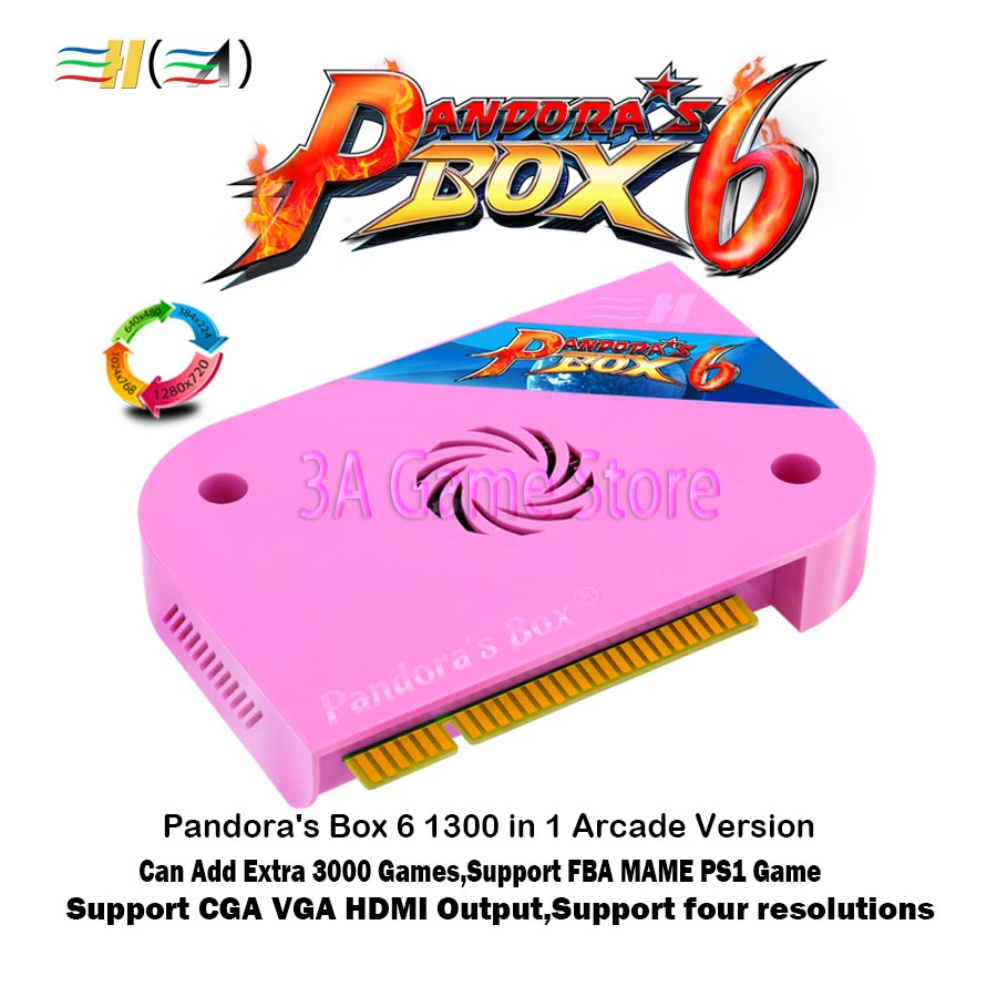 Pandora Box 6 1300 in 1 jamma arcade Version pcb game board CGA VGA HDMI output CRT HD 720p support fba mame ps1 game 3d tekken pandora 520 in 1 game pcb board box 3 jamma arcade multi game card cga vga output for crt lcd monitor diy arcade game kit parts