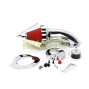1 Set Motorcycle Cone Spike Air Cleaner Kit Intake Air Filter Set For Honda VTX 1300 / VTX1300 All Years Chrome w/ Red image