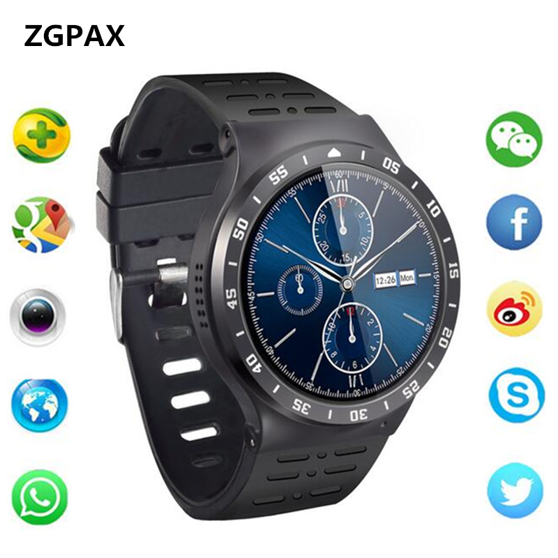 цена на ZGPAX New smart watch S99A Android 5.1 OS MTK6580 Quad Core RAM 512MB ROM 8GB Heart rate 3G WiFi GPS watch phone For Android