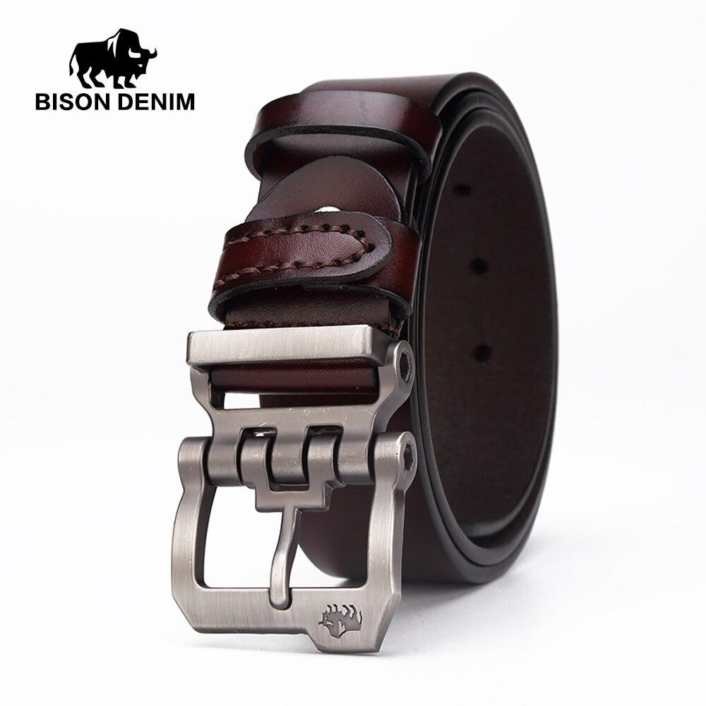 BISON DENIM correa de cuero genuina para los hombres regalo diseñador cinturones hombres de alta calidad Cowskin hebilla personalidad, vintage jeans N71223