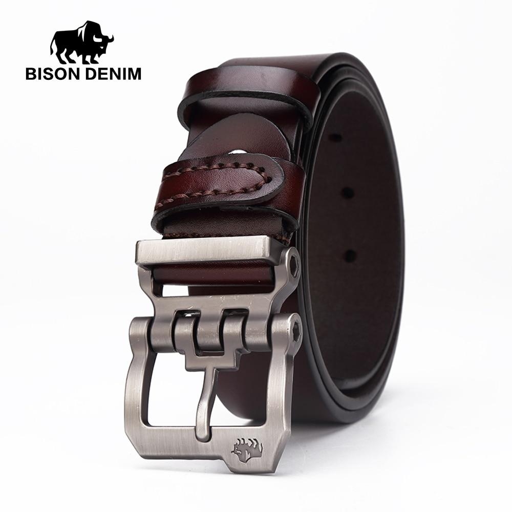 BISON DENIM genuine leather belt for men gift designer belts men's high quality Cowskin Personality buckle,Vintage jeans N71223