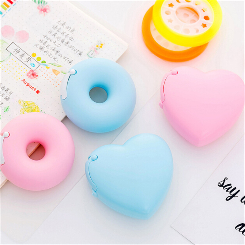 Candy Color Masking Tape Cutter Design Of Love Heart/Donut Shape Washi Tape Cutter Office Tape Dispenser School Office Supplies