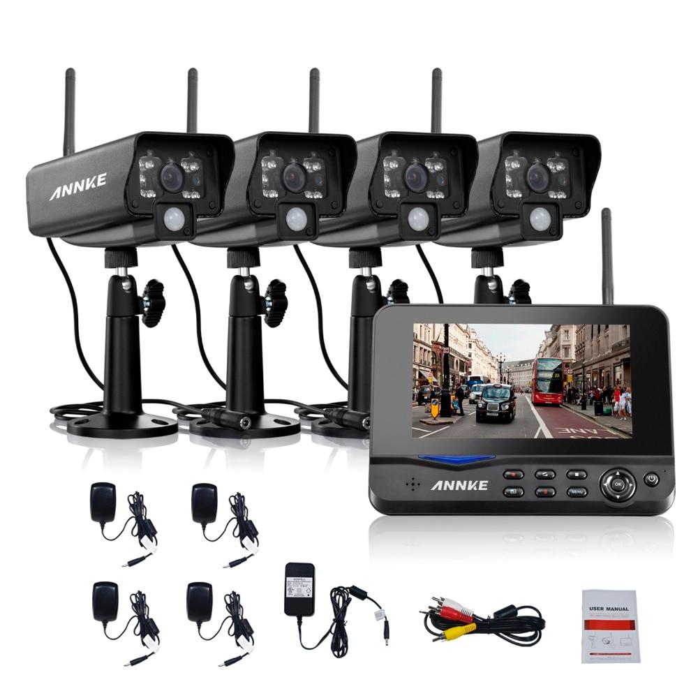 ANNKE 7 TFT LCD DVR 4CH Digital Wireless Monitor 4pcs Wifi Ip Camera CCTV Home Security